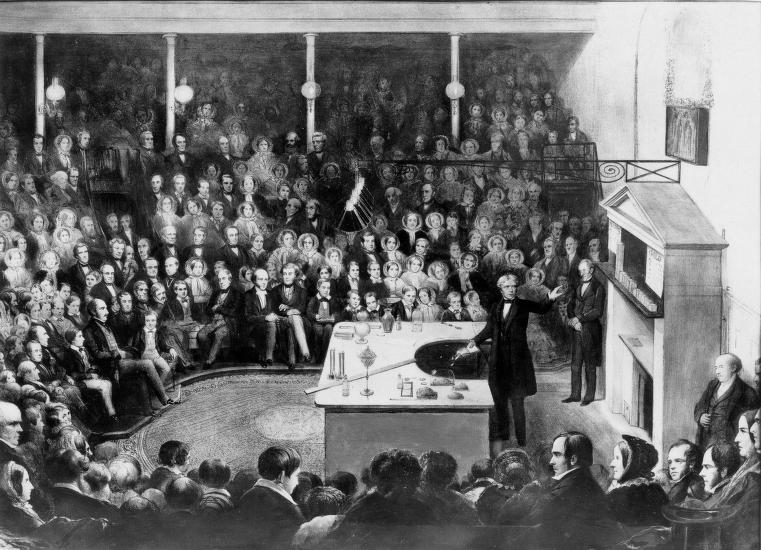 Michael Faraday delivering a Christmas lecture at the Royal Institution (1856).